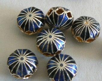 SALE 2pc 12x9mm Handmade Cloisonne Beads Bead Round Blue Black