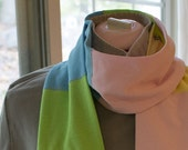 Cotton knit color block scarf made from reclaimed colorful t-shirts, multicolor, pastel tones
