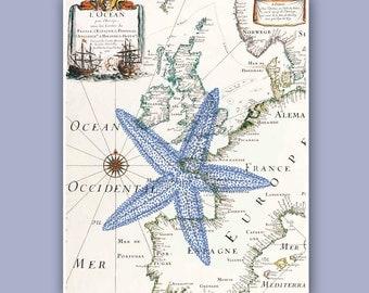 Nautical Starfish Print on antique map, Sea star, Marine Wall art Decor,  Nautical art, Coastal Decor