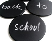 back to school time. blackboard magnetic coasters. sticks to any magnetic surface. set of four.