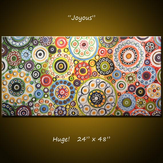 """Abstract Painting Original Large Modern Art ... red yellow green blue ... 24 x 48 ... """"Joyous"""", by Amy Giacomelli"""