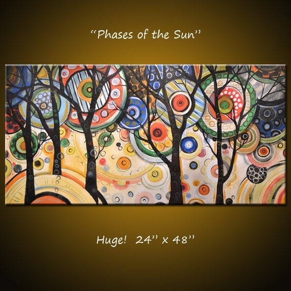 """Modern Art Original Trees Amy Giacomelli Original Large Landscape Abstract Contemporary ... 24 x 48 ... """"Phases of the Sun"""" READY TO SHIP"""