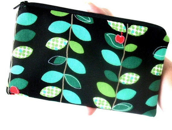 Large Coin Purse Zipper Pouch Eco Friendly Padded Japanese Import Linen  Apple Vines NEW