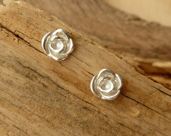 Rose Bud Studs - 14K White Gold
