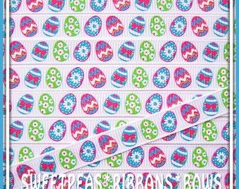 "sale 3/8"" Bright Fun Easter Eggs Grosgrain Ribbon-5 yards-Pink-Green-Blue"