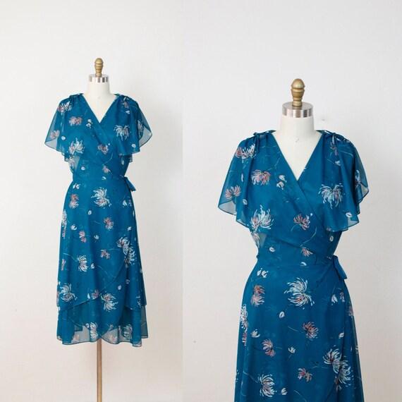 Teal Floral Wrap Vintage Dress