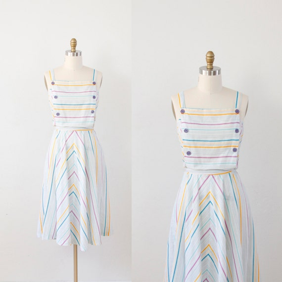 Multi color pastel jumper with chevron stripes and bib tank top from 1970s