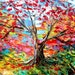 Tree of Life Art abstract landscape painting by Aja