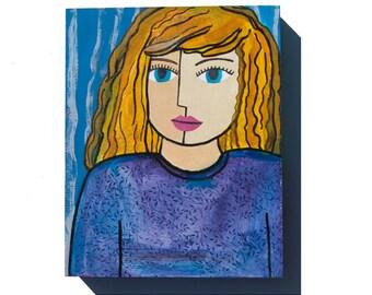 Girl Portrait - Blue Eyes Girl Art - Blond Hair - Whimsical Art - Girls Room Decor - 8 x 10 Original Girl Mixed Media Art, wall art decor