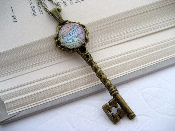 Choose your Destination Custom Map Key Necklace