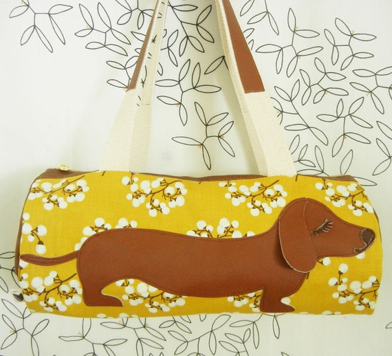 BBQ the Dachshund Yellow Floral Blossom Vintage Inspired Cotton Canvas Floral Duffel Tote Bag Pursewith Vinyl Applique