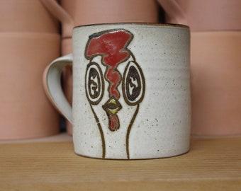 Handmade Coffee Mug with Chickens