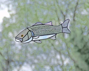 Striped Bass Fish Stained Glass Suncatcher