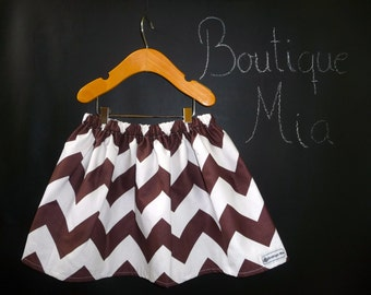 BUY 2 get 1 FREE - Skirt - Chocolate and White Chevron - Pick the size Newborn up to 14 Years - Boutique Mia