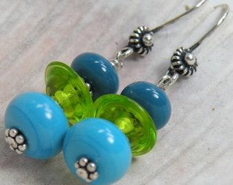 MAKING WAVES Handmade Lampwork Bead Dangle Earrings