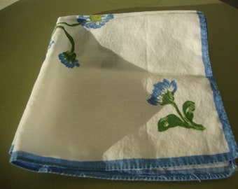 Vintage 1950s Ladies Handkerchief Blue and White Floral Design Hankie