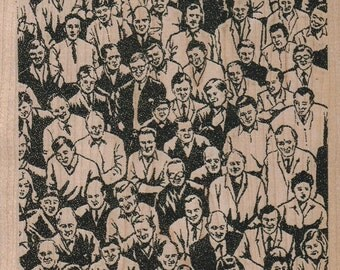 crowd of people Background stamp   Background  cling stamp, wood mounted or unmounted 2144  men looking up