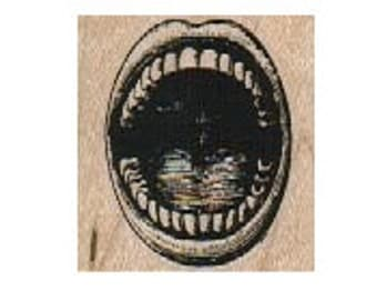 Open mouth rubber stamp Stamps stamping teeth lips mouth yawn yell scream  no. 5766