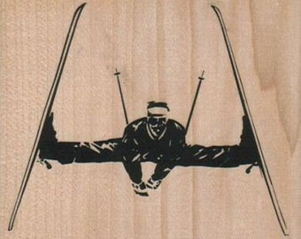 Skier Doing The Split 3 1/4 x 2 3/4  cling stamp, unmounted or wood mounted rubber stamp    7050  ski sport olympics