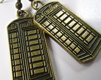 Antiqued bronze telephone box phone box earrings pierced