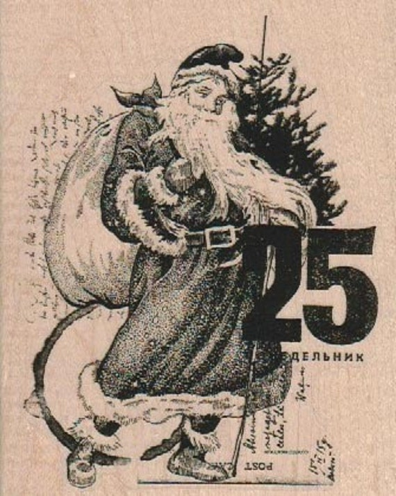 background  Rubber  Stamp Christmas Santa date Collage cling stamp, unmounted or wood mounted stamp 18933