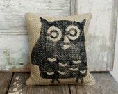 Owl -  Burlap Feed Sack Doorstop - nextdoortoheaven