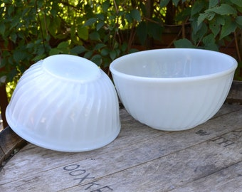 Pair of Fire King Swirl Mixing Bowls