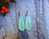 Reserved for FlirtyMartini ... Fabulous Faceted Mint Green Chalcedony Earrings