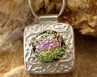 Small Dichroic Fused Glass Pendant , Fused Glass Pendant - Pink and Gold in Silver Setting