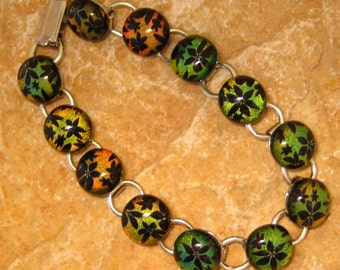 Fused Glass Bracelet, Link Bracelet, Dichroic Jewelry Fused Glass Bracelet Copper Daisy Chain
