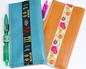 Checkbook Wallet Cover in Turquoise with Vegetables and Tape Measure
