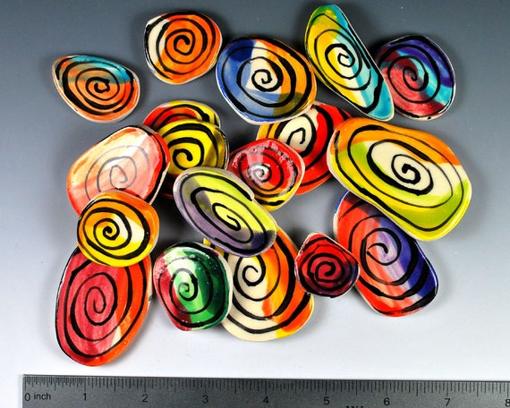 Lots of HAPPY COLORFUL SPIRALS / swirls. Handmade mosaic tiles