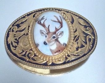 Hand Painted Deer Buck Belt Buckle Unused Signed Vintage