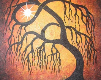 Golden weeping willow tree, Original Acrylic painting, Tree art by Jordanka Yaretz