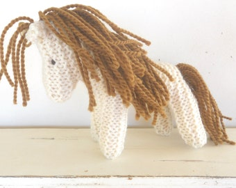 Eco Kids Toy, Earth Pony, Waldorf Toy, Stuffed Animal Horse, natural and eco friendly, Organic