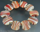 Etched cream and rust Lampwork Beads - Set of  10 squeezed beads - MESA - Beadwife SRA