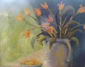 Floral table top scene...Orange flowers in a vase..Lemons in bowl..Painting