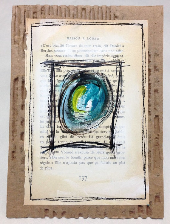PURPOSE Mixed Media Mini Abstract Painting - Stitched onto Cardboard