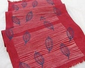 Tablecloth, table runner, pink blue,contemporary home, screenprinted leaves, hand dyed raspberry stripes, fall leaves, hemp, organic cotton