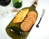 Large Gold Wine Bottle Flat Serving Tray with Cork and Raffia - Recycled Eco-Friendly