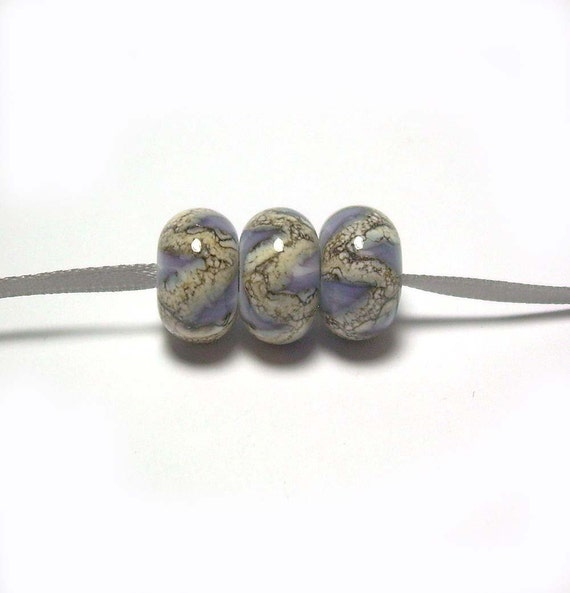 Handmade Lampwork Glass Beads in Silvered Ivory Waves on Grey Swirls and White set of 3 - Silvered Grey - Ready to Ship
