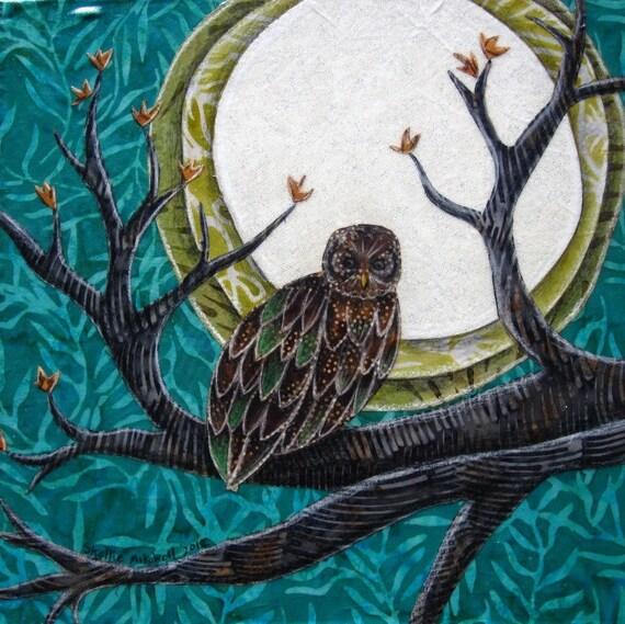 Owl art, fullmoon teal, owl wall decor, night owl, owl print