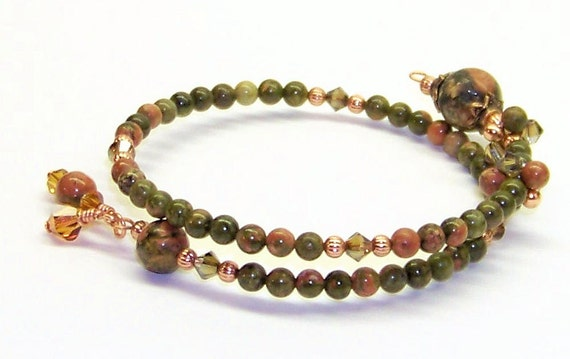 Row Counter Bracelet for Knitting or Crochet Unakite and Copper