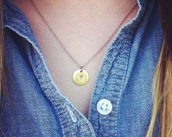 Custom Circle Initial Necklace