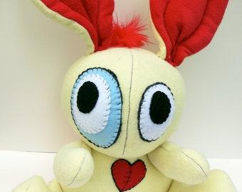 Rockin' Rabbit - Jumbo yellow plush bunny with red mohawk