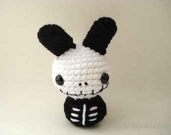 Skeleton Moon Bun - Dead Bunny Rabbit Amigurumi Doll with Keychain or Ornament Option