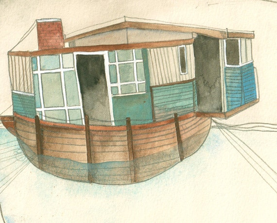 Wall Art Decor - Home Decor - Decor for Beach House - Watercolor Art Print - House Boat - 8x10 Print - Let's Build a House and Sail Away