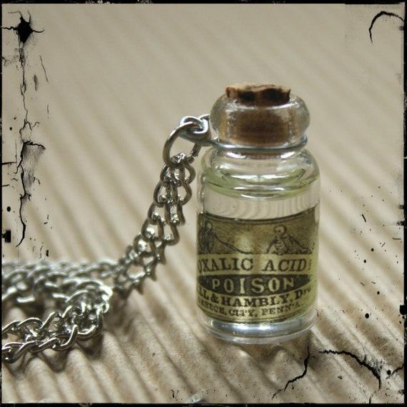 Tiny Poison Bottle - Vintage Label glass bottle necklace - Oxalic Aicd