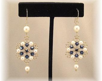 Dark Sapphire Crystal with Light Bronze Beading, Filigree Wedding Earrings, Navy Earrings, Cream Pearls,  Wedding Earrings, Bridal Earrings