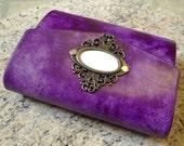 Travel Journal (Purple w/Customized Cameo and Cross Stitching)